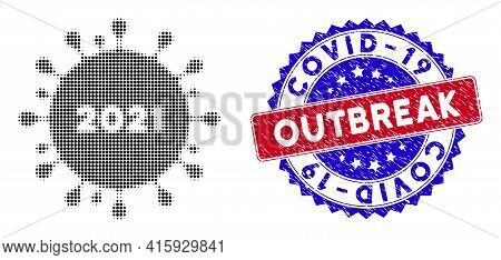 Dotted Halftone 2021 Coronavirus Icon, And Covid-19 Outbreak Unclean Stamp Seal. Covid-19 Outbreak W