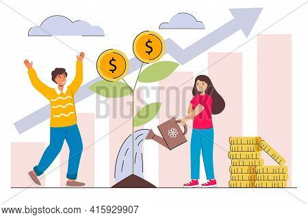 Family Investment Profit Flat Vector Illustration Man And Woman Characters Picking Cash From Money T