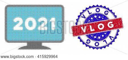 Dotted Halftone 2021 Display Screen Icon, And Vlog Grunge Stamp. Vlog Stamp Uses Bicolor Rosette Sha