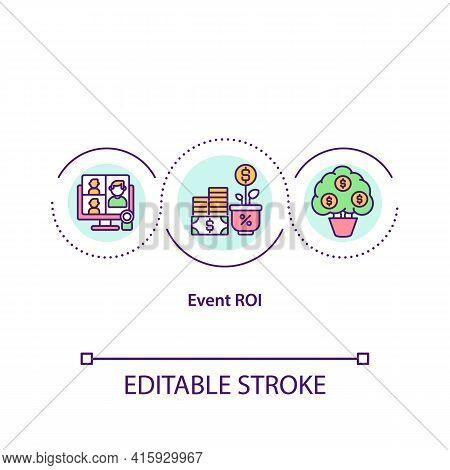 Event Roi Concept Icon. Net Value Calculating Idea Thin Line Illustration. Sponsorships, Partnership