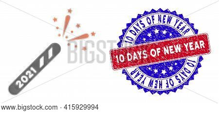 Dotted Halftone 2021 Firecracker Icon, And 10 Days Of New Year Scratched Stamp Seal. 10 Days Of New