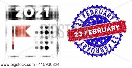 Pixelated Halftone 2021 Holiday Calendar Icon, And 23 February Unclean Stamp Imitation. 23 February