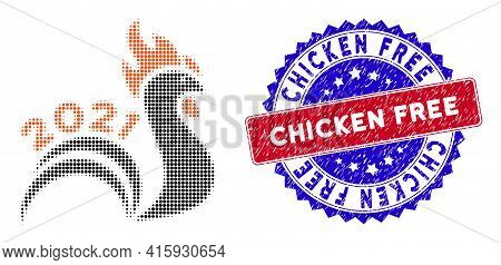 Pixelated Halftone 2021 Rooster Tail Icon, And Chicken Free Grunge Stamp Print. Chicken Free Stamp U