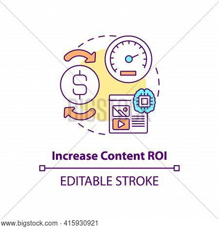 Increase Content Roi Concept Icon. Marketing Strategy For Profit Growth. Online Business. Smart Cont