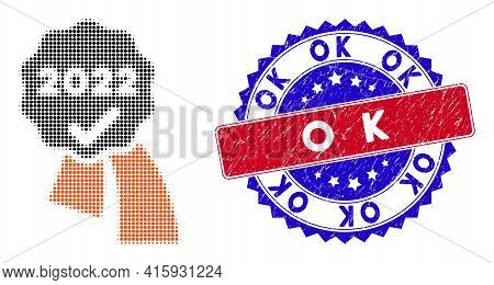 Pixelated Halftone 2022 Approve Award Icon, And Ok Grunge Stamp. Ok Stamp Uses Bicolor Rosette Form,