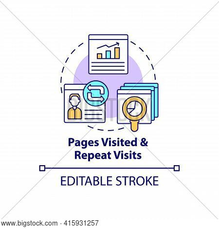 Page Visited And Repeated Visit Concept Icon. Online Customer Activity Monitoring. Smart Content Ide