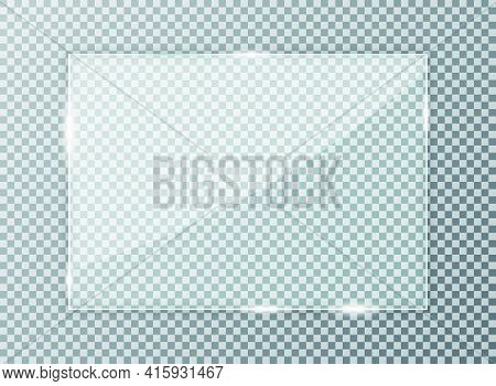 Glass Plate On Transparent Background. Acrylic And Glass Texture With Glares, Light And Reflection.