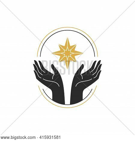 Woman Hands With Star Black Silhouette Vector Illustration