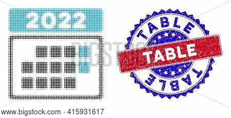 Dot Halftone 2022 Calendar Month Table Icon, And Table Rubber Seal. Table Seal Uses Bicolor Rosette