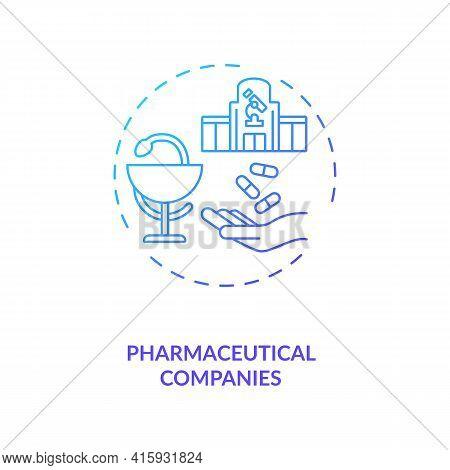 Pharmaceutical Companies Concept Icon. Trials Sponsorship Idea Thin Line Illustration. Manufacturing