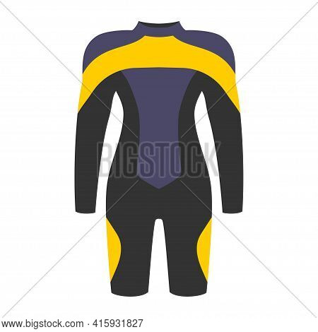 Dive Costume In Black, Yellow And Blue Colors Isolated On White Background, Swim Suit For Women Or M