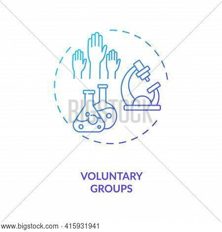 Voluntary Groups Concept Icon. Trials Sponsorship Idea Thin Line Illustration. Informal Community Gr