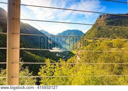 Fjord Geirangerfjord With Cruise Ship, View From Flydalsjuvet Viewing Point, Norway. Travel Destinat