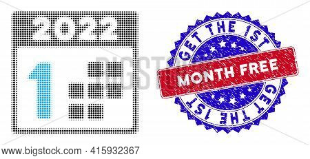Dotted Halftone 2022 First Day Icon, And Get The 1st Month Free Grunge Rubber Seal. Get The 1st Mont