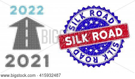 Pixel Halftone 2022 Future Road Icon, And Silk Road Grunge Stamp Imitation. Silk Road Watermark Uses