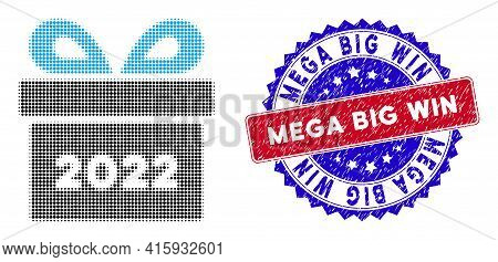 Pixelated Halftone 2022 Gift Icon, And Mega Big Win Rough Rubber Seal. Mega Big Win Stamp Seal Uses