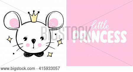 Cute Mouse Princess With Crown Isolated On White. Mice Illustration. Doodle Animal Face. Vector Char
