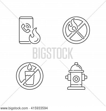 Emergency Instructions For Fire Safety Linear Icons Set. Call In Case Of Emergency. No Open Flame. C