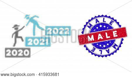 Dot Halftone 2022 Year Guy Help Icon, And Male Rubber Seal. Male Stamp Seal Uses Bicolor Rosette Tem