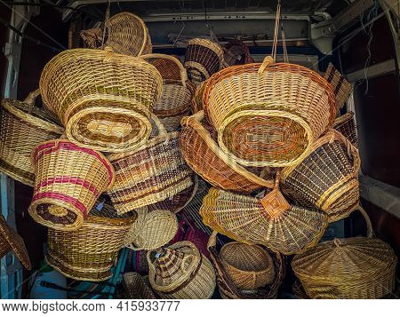 Wicker basket in the van of an artisan going to sell them on a craft market in Avioth in Meuse, France