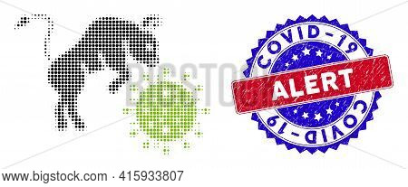 Dotted Halftone Bull Attacks Coronavirus Icon, And Covid-19 Alert Rough Watermark. Covid-19 Alert Wa