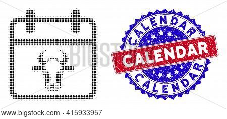 Pixel Halftone Bull Calendar Page Icon, And Calendar Textured Stamp Seal. Calendar Stamp Seal Uses B