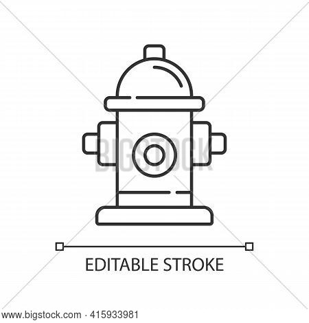 Fire Hydrant Linear Icon. Firefighters Department. Flame Extinguishing. Fire Safety. Thin Line Custo