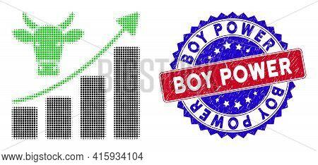 Dot Halftone Bullish Market Trend Icon, And Boy Power Grunge Stamp Print. Boy Power Stamp Seal Uses