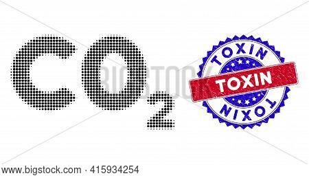 Pixel Halftone Co2 Formula Icon, And Toxin Grunge Stamp Seal. Toxin Stamp Seal Uses Bicolor Rosette