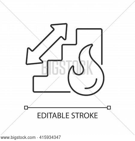 Stairway Linear Icon. Directional Arrow To Evacuation Stairs. Building Security. Fire Safety. Thin L