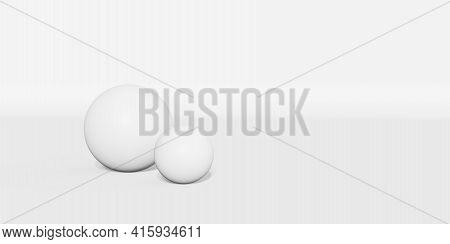 White Ball Floating On White Background 3d Illustration