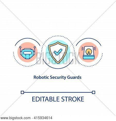 Robotic Security Guards Concept Icon. Security Robots Idea Thin Line Illustration. Responsibility Fo