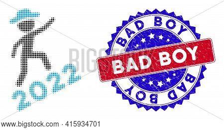 Dot Halftone Gentleman Climbing 2022 Icon, And Bad Boy Rubber Seal. Bad Boy Stamp Seal Uses Bicolor