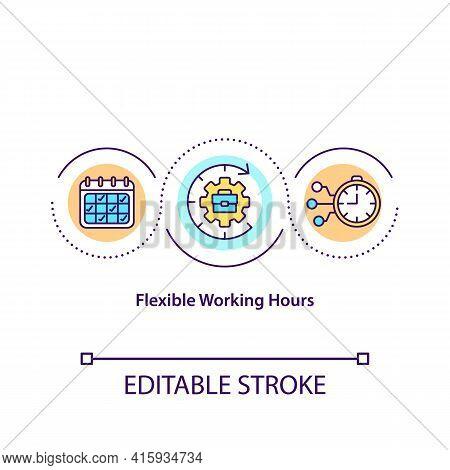 Flexible Working Hours Concept Icon. Work-life Balance Improvement Idea Thin Line Illustration. Work