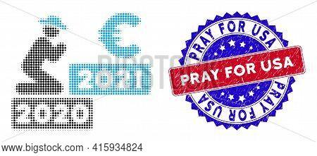 Pixelated Halftone Gentleman Pray Euro 2021 Icon, And Pray For Usa Grunge Stamp Seal. Pray For Usa S
