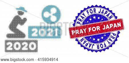 Pixel Halftone Gentleman Pray Ripple 2021 Icon, And Pray For Japan Rough Stamp Seal. Pray For Japan