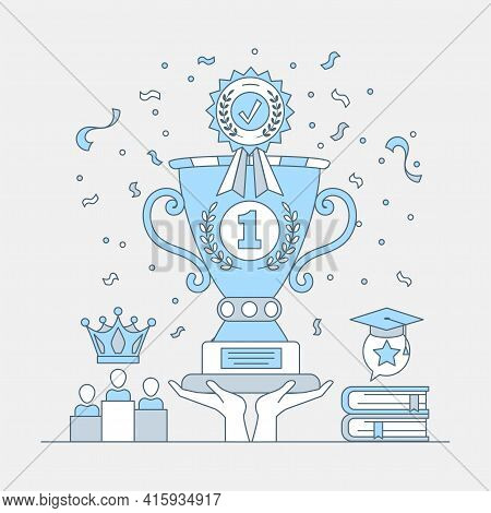 Hands Holding First Place Cup Trophy And Achievement Medal Vector Cartoon Outline Illustration. Best