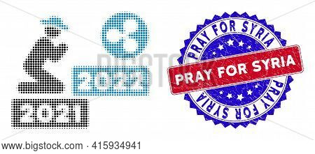 Pixel Halftone Gentleman Pray Ripple 2022 Icon, And Pray For Syria Textured Stamp. Pray For Syria St