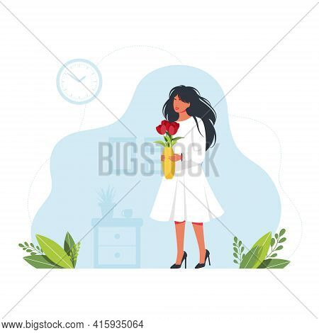 Pretty Girl Holding A Vase Of Flowers. Woman With A Beautiful Bouquet Of Flowers. Happy Women's Day