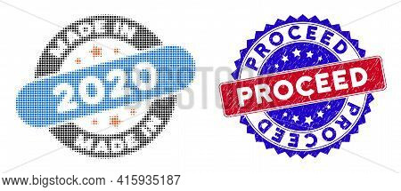 Dotted Halftone Made In 2020 Stamp Icon, And Proceed Textured Stamp Print. Proceed Stamp Seal Uses B