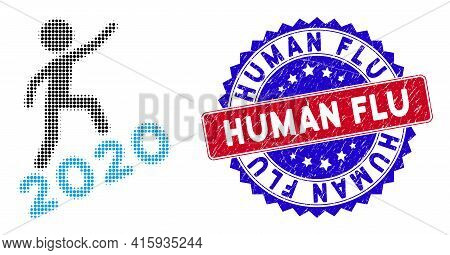 Pixelated Halftone Man Climbing 2020 Icon, And Human Flu Scratched Seal. Human Flu Stamp Seal Uses B