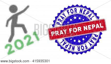 Dotted Halftone Man Climbing 2021 Icon, And Pray For Nepal Grunge Stamp. Pray For Nepal Stamp Uses B