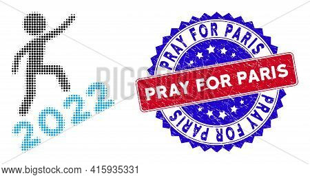 Pixelated Halftone Man Climbing 2022 Icon, And Pray For Paris Rubber Stamp Seal. Pray For Paris Stam