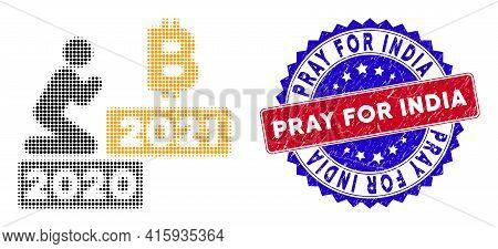 Pixel Halftone Man Pray Bitcoin 2021 Icon, And Pray For India Stamp. Pray For India Stamp Uses Bicol