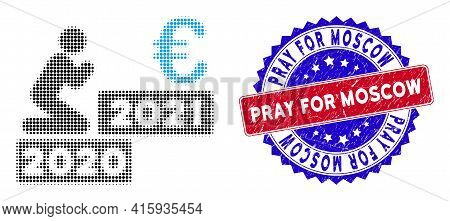 Pixel Halftone Man Pray Euro 2021 Icon, And Pray For Moscow Rubber Seal. Pray For Moscow Seal Uses B
