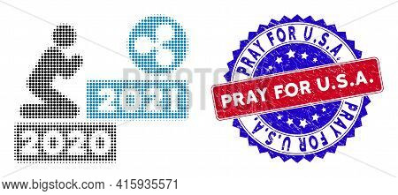 Pixel Halftone Man Pray Ripple 2021 Icon, And Pray For U.s.a. Textured Seal. Pray For U.s.a. Seal Us
