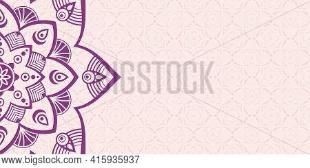 Horizontal Mandala Banner. Decorative Purple Flower Mandala Background With Place For Text. Colorful