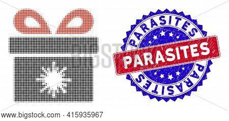 Pixelated Halftone Virus Pandorra Box Icon, And Parasites Stamp Imitation. Parasites Stamp Uses Bico