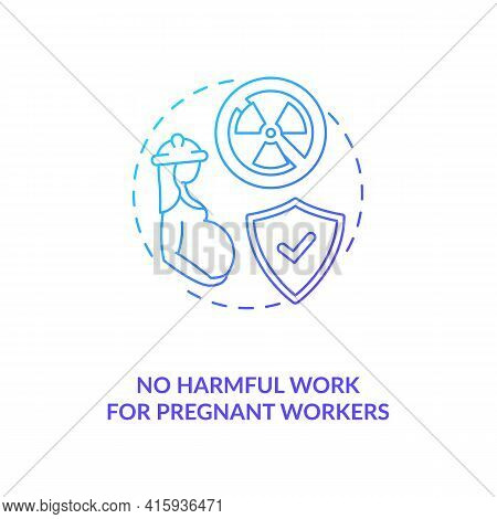 No Harmful Work For Pregnant Workers Blue Gradient Concept Icon. Expecting Mother Health Safety. Mig