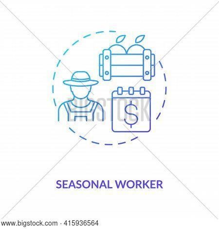 Seasonal Worker Blue Gradient Concept Icon. Temporary Work. Short Term Job. Apple Picking. Migrant W